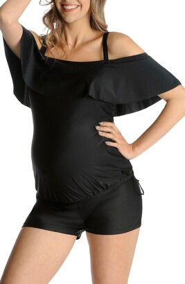 Mermaid Maternity Ruffle Maternity Tankini Top