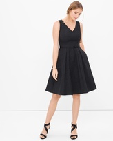 White House Black Market V-neck Black Jacquard Fit-and-Flare Dress