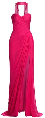 Monique Lhuillier Strapless Draped Chiffon Silk Scarf Gown