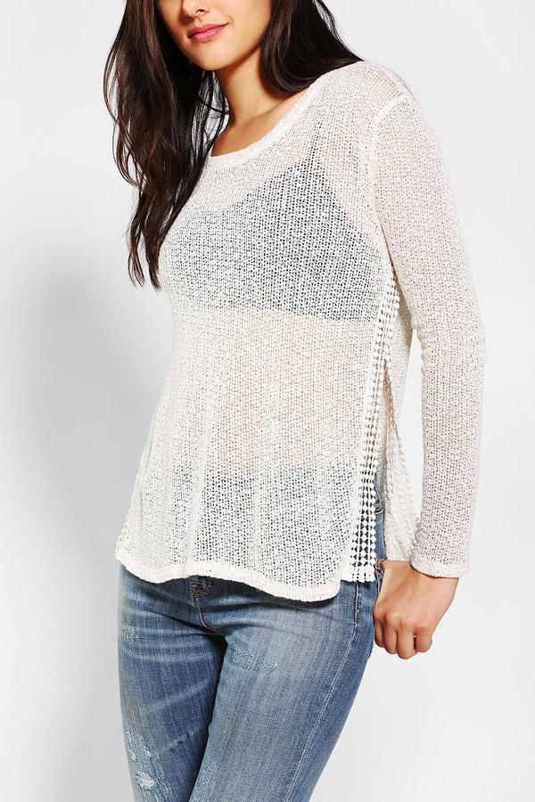 Urban Outfitters Staring At Stars Crochet Crochet-Slit Sweater