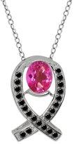 Gem Stone King 1.94 Ct Oval Pink Mystic Topaz Black Diamond Sterling Silver Pendant