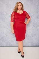 Yours Clothing SCARLETT & JO Red Bodycon Dress With Mesh Sleeves & Sweetheart Neck - PETITE