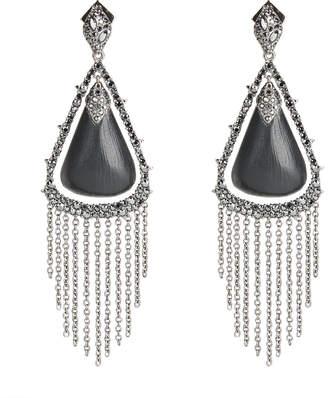Alexis Bittar Crystal Capped Tassel Chain Post Earrings, Black