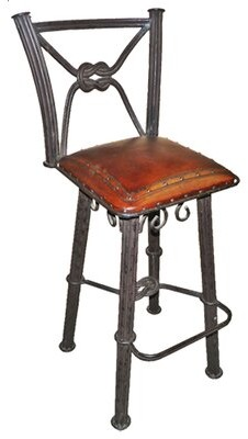"""Fleur De Lis Living Chaucer Traditional 30"""" Bar Stool with Leather Seat (Set of 2"""