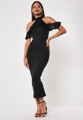 Missguided Black Lace Frill Cold Shoulder Bodycon Midi Dress