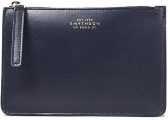 Smythson Logo-appliqued Pebbled-leather Pouch