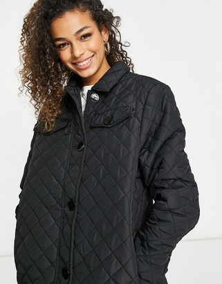 Brave Soul perkins diamond quilted oversized shirt style coat in black