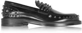 Jimmy Choo Don Black Shiny Leather Loafer w/Gunmetal Studs