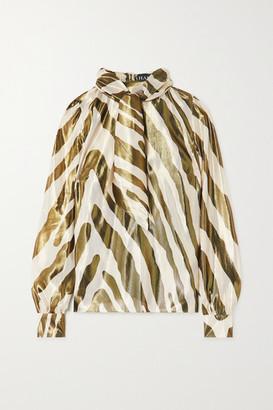 HANEY Billie Metallic Zebra-print Silk And Lurex-blend Blouse - Zebra print