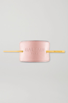 Balmain Paris Hair Couture Gold-plated And Embossed Leather Hair Pin