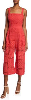 Parker Ashton Sleeveless Tie-Back Eyelet Crop Jumpsuit