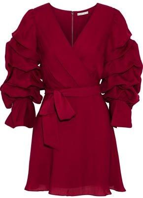 Alice + Olivia Santina Wrap-effect Ruched Silk-chiffon Mini Dress