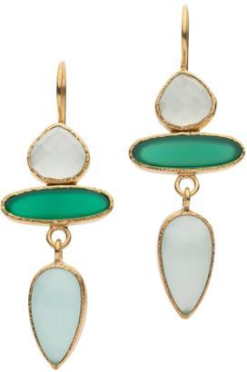 Jaipur Chalcedony And Onyx Drop Earrings