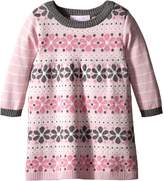 Bonnie Baby Baby-Girls Floral Stripe Sweater Dress, Pink
