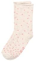 Melton Sock - Random Dots W/roll Edge Nature Melange