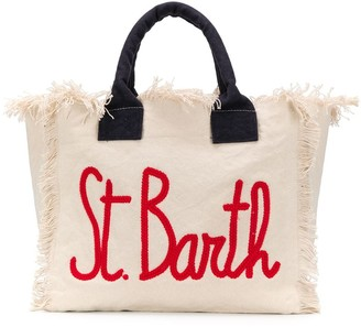 MC2 Saint Barth Logo-Print Frayed Beach Bag
