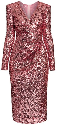 Dolce & Gabbana V-Neck Sequin Sheath Dress