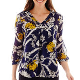 Liz Claiborne Long-Sleeve Floral Print Blouse - Tall