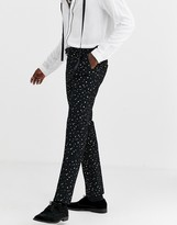 Twisted Tailor super skinny suit trousers with polka dot gold flock in black