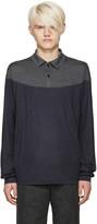 Kolor Grey and Navy Wool Polo