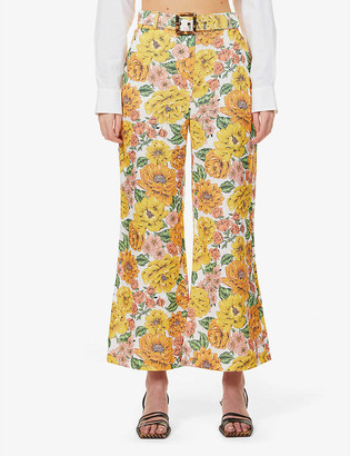 Zimmermann Poppy floral-print flared high-rise linen trousers