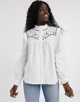 Asos Design DESIGN long sleeve cotton shirt with cut out detail