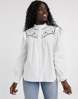 Asos Design DESIGN long sleeve cotton shirt with cut out detail-White