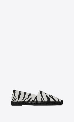 Saint Laurent Espadrilles In Zebra-print Canvas Black And White 5