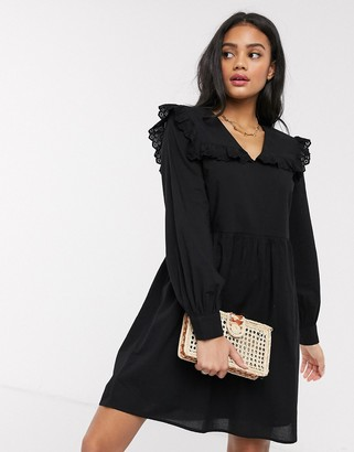 Pieces smock dress with frill collar in black