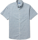 Blue Blue Japan Button-down Collar Printed Cotton Shirt - Blue