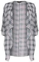 Yours Clothing YoursClothing Womens Grid Line Print Chiffon Kimono Waterfall Front Plus Size