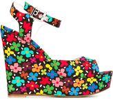 Au Jour Le Jour floral print wedge sandals - women - Leather/Polyester - 37