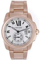 Cartier Calibre de W7100018 18K Rose Gold Silver Dial Automatic 42mm Mens Watch