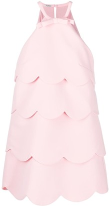 Miu Miu Scallop-Edge Tiered Mini-Dress