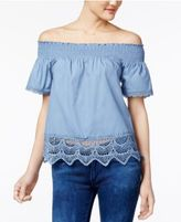 Almost Famous Juniors' Lace-Trim Off-The-Shoulder Top