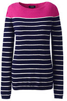 Lands' End Women's Petite Year Round Cashmere Tunic Sweater-Garlic Clove Heather Stripe