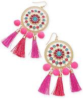 Thalia Sodi Gold-Tone Multi-Stone, Tassel & Pom-Pom Drop Earrings, Created for Macy's