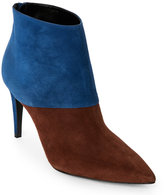Pierre Hardy Tan & Blue Colorblocked Pointed Toe Ankle Booties