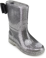 Jelly Beans Silver & Black Bradon Rain Boot
