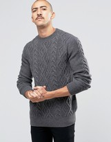 Barbour Jumper With Cable Knit In Grey