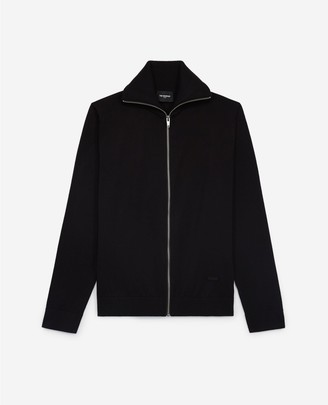 The Kooples Black cardigan in cotton and silk w/leather