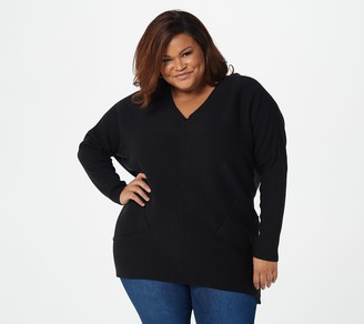 Denim & Co. Long-Sleeve V-Neck Tunic Sweater with Pockets
