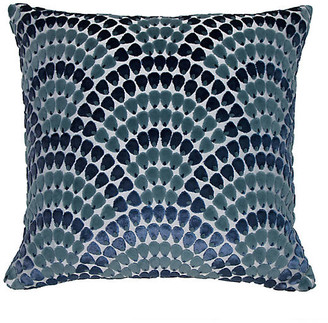 The Piper Collection Landis 22x22 Pillow - Sherpa Blue/Teal Velvet