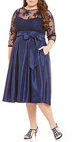 Jessica Howard Plus Illusion Lace Midi Dress