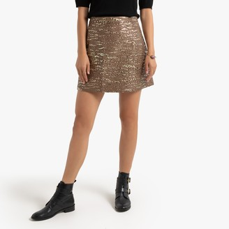 Molly Bracken Metallic Mini Skirt with Animal Print