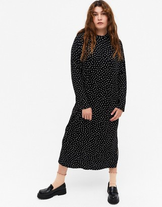 Monki Pia spot print long-sleeved midi dress in black