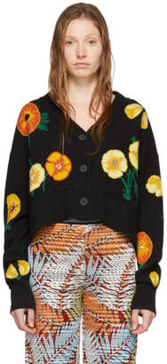 Alanui Black and Multicolor Wool Poppy Blossom Cardigan