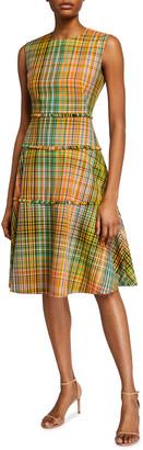 Lela Rose Hand-loomed Plaid Tiered Dress
