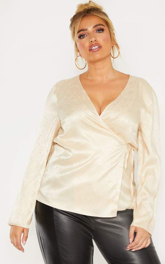 PrettyLittleThing Plus Champagne Satin Tie Detail Blouse