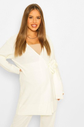boohoo Maternity Tie Side Cardigan Slouchy Knitted Co-Ord
